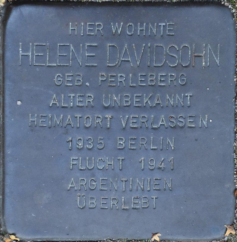 Hagenow Stolperstein Parkstraße 33 Davidsohn, Helene