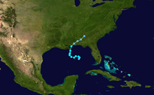 Track map of tropical storm. Louisiana is situated near the center of the map.