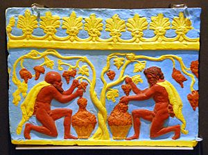 Campana reliefs - Satyrs harvesting grapes on a ridge tile in the Museum August Kestner, Hannover: Coloured reconstruction