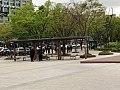Hanyang Univ station plaza benches, 20180424.jpg