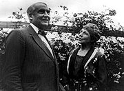 Warren and Florence Harding pose in their garden.