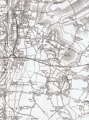 Harmondsworth - Harmondsworth as seen on Ordnance Survey map sheet 71, 1822–1890, with railway added 1891.