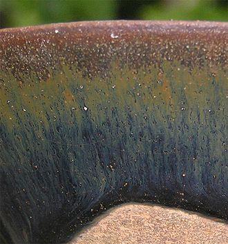 "Jian ware - View of the ""hare's fur"" glazing effect on a Jian bowl"
