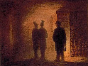 Viktor Hartmann, Paris Catacombs. People pictu...