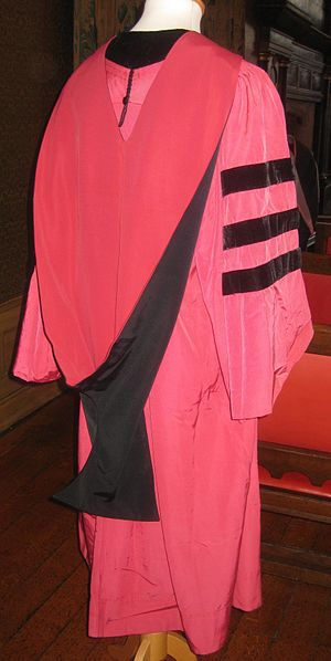 Academic regalia of Harvard University - Rear view of a Harvard doctoral gown and hood.  Note the lack of velvet trim on the hood, which is a common feature of the hoods of other universities in the United States that follow the ICC.