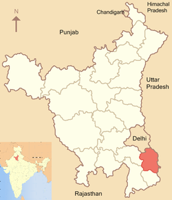Location of Faridabad district in Haryana