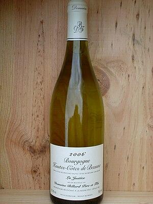 Hautes-Côtes de Beaune - A bottle of white Bourgogne Hautes-Côtes de Beaune.