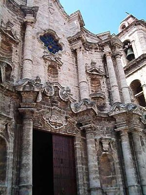 Religion in Cuba - Entrance to the Catedral de San Cristóbal de la Habana (Cathedral of Saint Christopher of Havana)