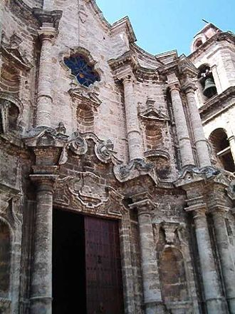 Religion in Cuba - Entrance to the Catedral de San Cristóbal de la Habana (Cathedral of Saint Christopher of Havana)