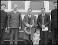 Hayward, California. Members of clergy and Salvation Army bid farewell to evacuee minister, Reveren . . . - NARA - 537497.tif