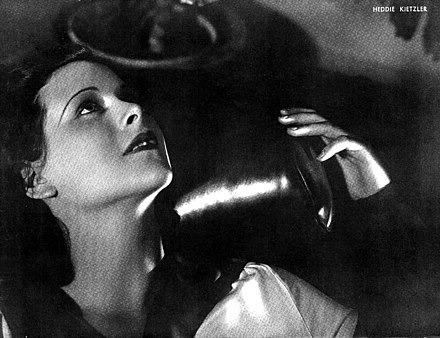 "Lamarr in a 1934 publicity photo with the name ""Heddie Kietzler"" Hedy Lamarr Argentinean Magazine AD.jpg"