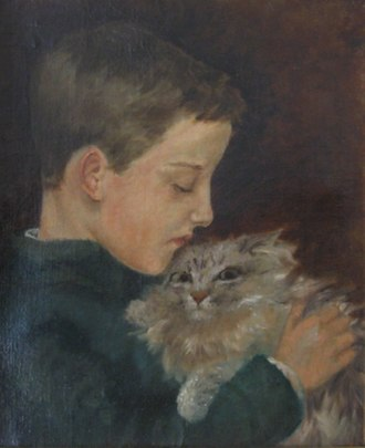 Henry L. Stimson - Young Stimson, with Mimi the cat. Portrait by Dora Wheeler Keith