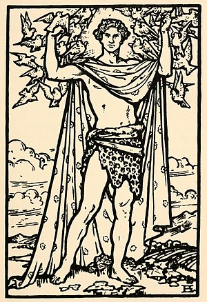 Aengus - Aengus, illustration by Beatrice Elvery in Violet Russell's Heroes of the Dawn (1914)