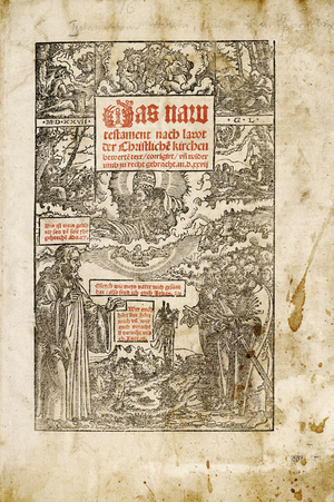 English: title page of the catholic bible tran...