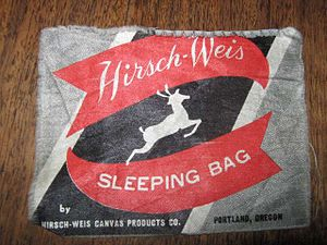 White Stag (clothing) - Tag from a Hirsch-Weis sleeping bag