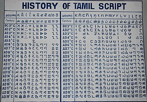 Tamil script - Historical evolution of Tamil writing from the earlier Tamil Brahmi near the top to the current Tamil script at bottom.