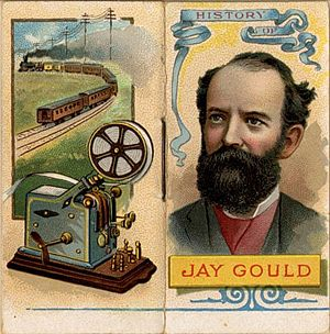 Cigarette card - Early American cigarette cards depicted actors, writers, sports figures, military figures, and businessmen like Jay Gould.