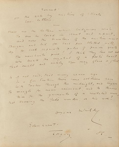 File:Houghton MS Eng 1645 - Wilde, Sonnet on the sale, 1886.jpg