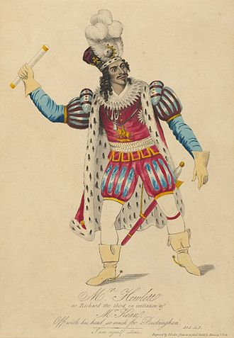 "African-American James Hewlett as Richard III in a c. 1821 production. Below him is quoted the line ""Off with his head; so much for Buckingham"", a line not from the original play but from adaptations. Houghton TCS 44 - James Hewlett as Richard the Third - cropped.jpg"