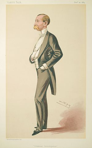 The Rangers (British regiment) - Caricature of Sir Howard Vincent by Spy published in Vanity Fair in 1883.