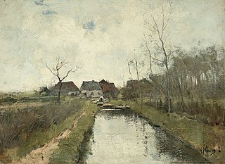 Cottages by a ditch