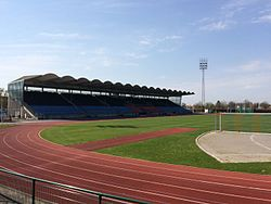 Hvidovre Stadion (Stadium) - Pitch and the main grandstand.jpg