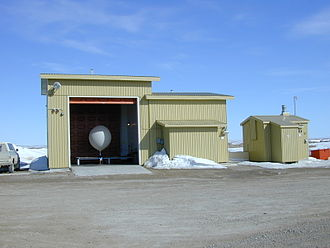 Weather balloon - A hydrogen filled balloon at Cambridge Bay Upper Air station, Nunavut, Canada