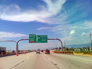 Interstate 215 (Utah) - I-215 northbound approaching Legacy Parkway, to the northwest of Salt Lake City.