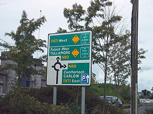 Roads in Ireland - A directional road sign in the Republic of Ireland County Laois.