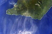 Satupa'itea-19th century Methodist mission-ISS012-E-23596 NASA south west side of Savai'i island