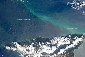 Internal wave - Internal Wave trains around Trinidad, as seen from space