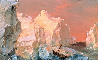 Icebergs and Wreck in Sunset