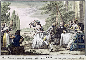 Social dance - Eighteenth-century social dance.  Translated caption: A cheerful dance awakens love and feeds hope with lively joy, (Florence, 1790).