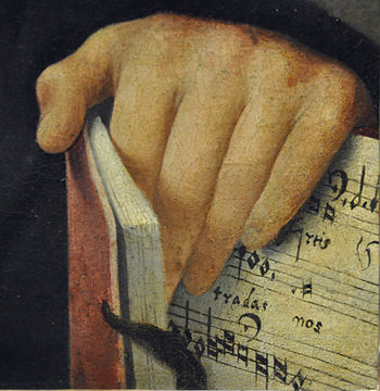 Portrait of a Musician, detail: hand and sheet...