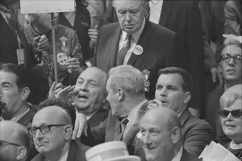 Illinois delegates at the Democratic National Convention of 1968, react to Senator Ribicoff's nominating speech in which he criticized the tactics of the Chicago police against anti-Vietnam war protesters