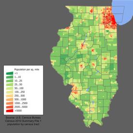 Densidad de población de Illinois