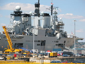 HMS Illustrious (R06) - Illustrious undergoing maintenance at Portsmouth during 2005