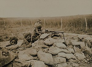 2nd Queen Victoria's Own Rajput Light Infantry - A Benet-Mercier machine gun section of 2nd Rajput Light Infantry in action in Flanders, during the winter of 1914-15