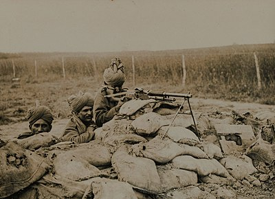 A Benet-Mercie machine gun section of 2nd Rajput Light Infantry in action in Flanders, during the winter of 1914-15. IndianArmyMGCrewFlanders1914-15.jpg
