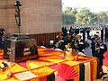 Indian Armed Forces services chiefs saluting martyrs at Amar Jawan Jyoti on Navy Day 2014.jpg