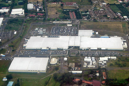 An Intel microprocessor facility in Costa Rica that was, at one time, responsible for 20% of Costa Rican exports and 5% of the country's GDP. Intel Costa 12 2007 SJO 105b.jpg