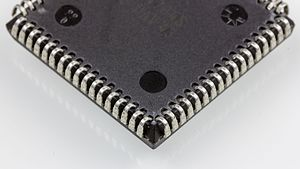 Chip carrier - Reverse side of an Intel 80C86: J-shaped metal leads