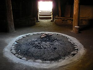 Sinixt - Interior of a Sinixt pithouse in the Slocan Valley