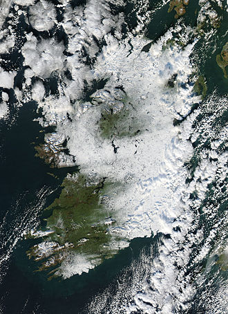 Winter of 2010–11 in Great Britain and Ireland - Photograph of snow in Ireland taken by the NASA Aqua satellite on 2 December 2010