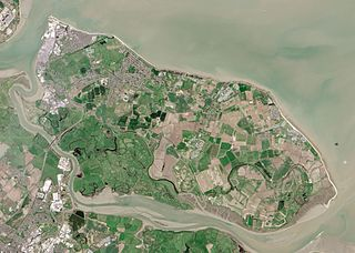 Isle of Sheppey island off the northern coast of Kent, England in the Thames Estuary