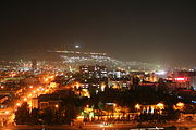 Damascus at night with Jabal Qasioun and it's restaurants in the back