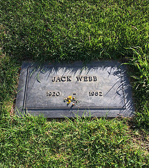 Jack Webb - The grave of Jack Webb at Forest Lawn Memorial Park Cemetery, in the Hollywood Hills.