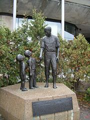 Statue at Montreal's Olympic Stadium made by sculptor Jules Lasalle