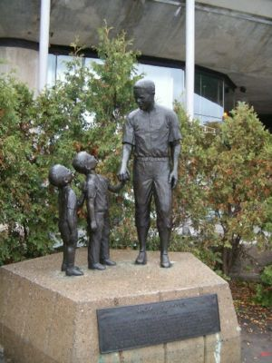 Montreal Royals - Statue at Montreal's Olympic Stadium of the Royals' most famous player, Jackie Robinson made by sculptor Jules Lasalle.