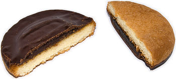 Jaffa Cake carefully cut in half. Photo taken ...